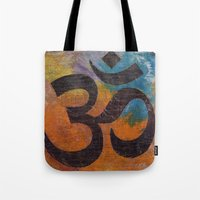 om Tote Bags featuring Om by Michael Creese