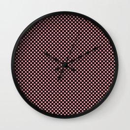 Black and Flamingo Pink Polka Dots Wall Clock
