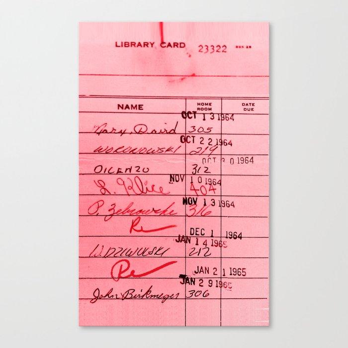 Library Card 23322 Pink Leinwanddruck
