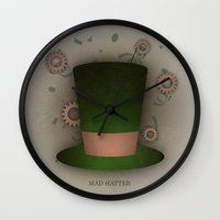 mad hatter Wall Clocks featuring Mad Hatter by coalotte