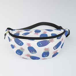 Tropical navy blue gold pink funny pineapple pattern Fanny Pack