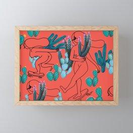 Picking cactus Framed Mini Art Print