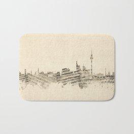 Berlin Germany Skyline Sheet Music Cityscape Bath Mat