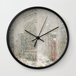 Flatiron Building New York City, Winter landscape painting by Guy Carleton Wiggins Wall Clock