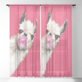 Bubble Gum Sneaky Llama in Red Sheer Curtain