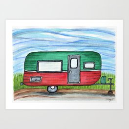 Watermelon Camper Trailer Art Print