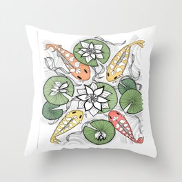 Koi Reunion - Zentangle Illustration Throw Pillow