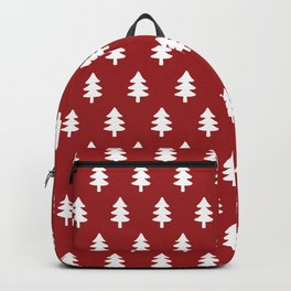 Hand drawn christmas red trees Backpack