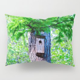 Old Bird House On A Large Larch Tree In Spring. Fresh Green Leaves And Needles Pillow Sham