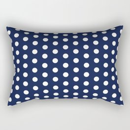 Navy Blue Polka Dot Rectangular Pillow