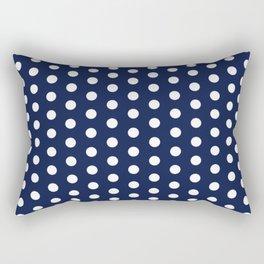 Navy Blue Polka Dots Minimal Rectangular Pillow