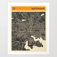 baltimore Art Prints featuring BALTIMORE by Jazzberry Blue