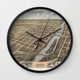 Bird's Eye View of Geneva, Illinois (1869) Wall Clock
