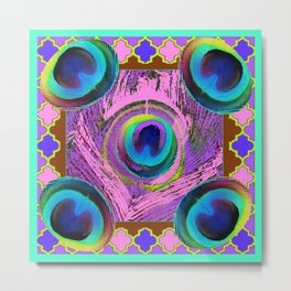 Decorative Peacock Eyes Turquoise-Purple Art Metal Print