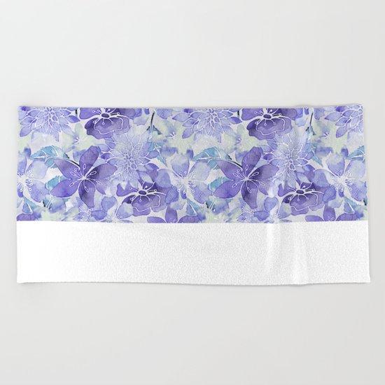 Purple Flower watercolor allover pattern Beach Towel