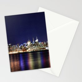 Midtown Manhattan Reflecting on the East River Landscape Painting by Jeanpaul Ferro Stationery Cards