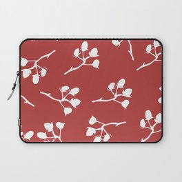 Berry Christmas Pattern, red background Laptop Sleeve