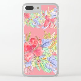 hawaiian flowers red pink Clear iPhone Case