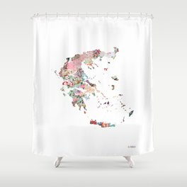 Greece map portrait Shower Curtain