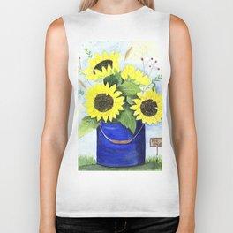 Watercolor sunflower bouquet in bucket Biker Tank