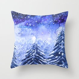 pine forest under galaxy Throw Pillow