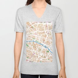 Watercolor map of Paris Unisex V-Neck