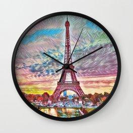 Eiffel Tower, Paris, France Sunset landscape painting by Jeanpaul Ferro Wall Clock