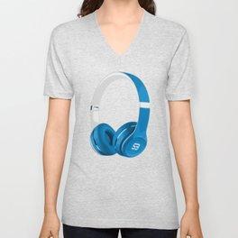 Vive la musique - Headphones, by SBDesigns Unisex V-Neck