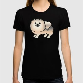 Cream Sable Pomeranian Dog Cute Cartoon Illustration T-shirt