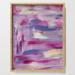 Dramatic sunset: minimal, acrylic abstract painting in purple, magenta and violet / Variation Three Serving Tray