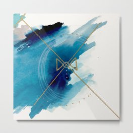 Galaxy Series 3 - a blue and gold abstract mixed media set Metal Print
