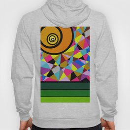 """""""Visuals in the Park"""" Montana Gold Spray Paint, Acrylic on Birch Panel 16″ x 20″ x 1.5""""  Hoody"""