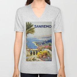 San Remo - Italy Vintage Travel Poster 1920 Unisex V-Neck