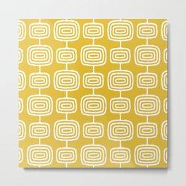 Mid Century Modern Atomic Rings Pattern Mustard Yellow Metal Print