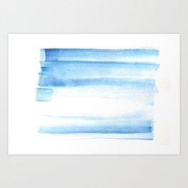180527 Abstact Watercolor 25 Blue| Watercolor Brush Strokes Art Print