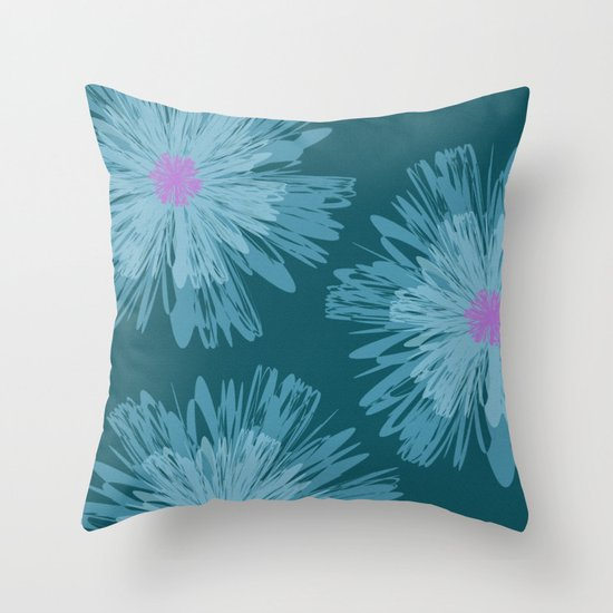 Throw Pillows With Large Flowers : Big Blue Flowers Throw Pillow by Inspired Images Society6