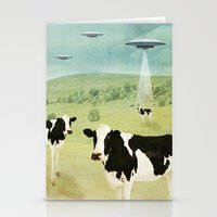 anaconda Stationery Cards featuring we all like burgers _ US AND THEM  by Vin Zzep