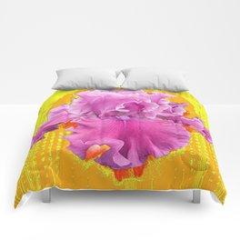 FRILLY PINK BEARDED IRIS YELLOW ART Comforters