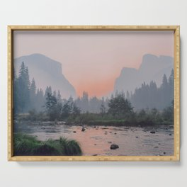 Yosemite Valley Sunrise Pretty Pink Serving Tray