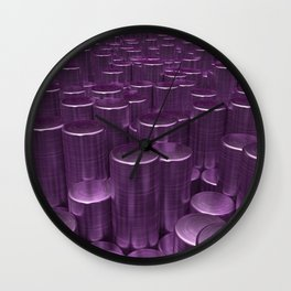 Pattern of purple brushed metal cylinders Wall Clock