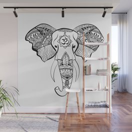 Elephant Line Drawing Wall Mural