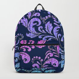 Magenta to Blue Sparkle Damask on Black Backpack