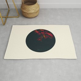 Red Maple Against Black Background Round Photo Rug
