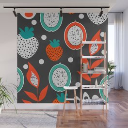 Strawberries and citrus fruits at night Wall Mural