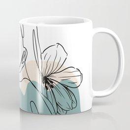 Line drawing girl with flowers Coffee Mug