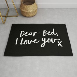 Dear Bed I Love You x typography poster kiss black-white design bedroom wall art home decor Rug