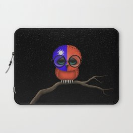 Baby Owl with Glasses and Taiwanese Flag Laptop Sleeve