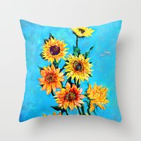 sunshine Throw Pillows featuring SUNSHINE by Jordan Soliz
