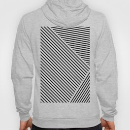 Black and White Lines Hatching Pattern Hoody