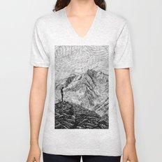 Child on the rock - Black ink Unisex V-Neck